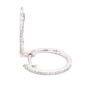 14 Karat White Gold Inside Out Oval Diamond Hoops