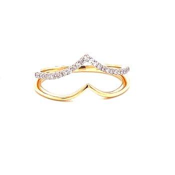 14 Karat Yellow and White Gold Double V Diamond Fashion Ring