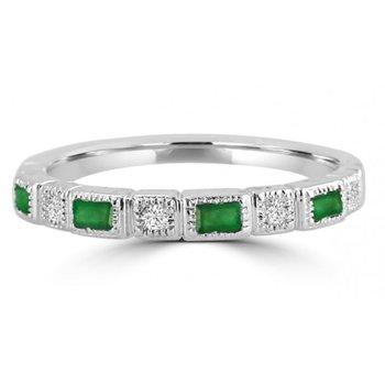 10 Karat White Gold Diamond and Emerald Baguette Cut Stacker Band