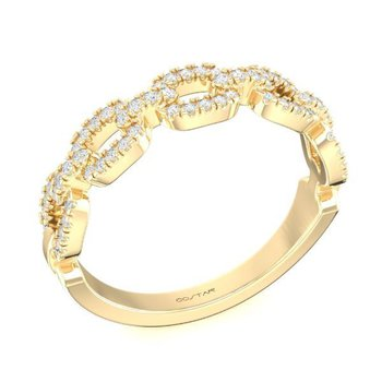 14 Karat Yellow Gold Link Chain Diamond Band