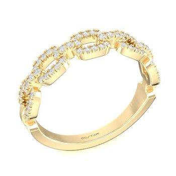 14 Karat Yellow Gold Link Chain Diamond Band