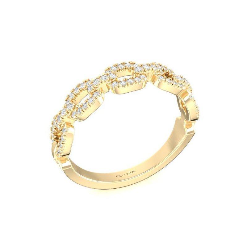 Corinth Collections  14 Karat Yellow Gold Link Chain Diamond Band