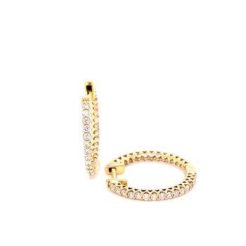 14 Karat Yellow Gold Inside Out Diamond Hoops