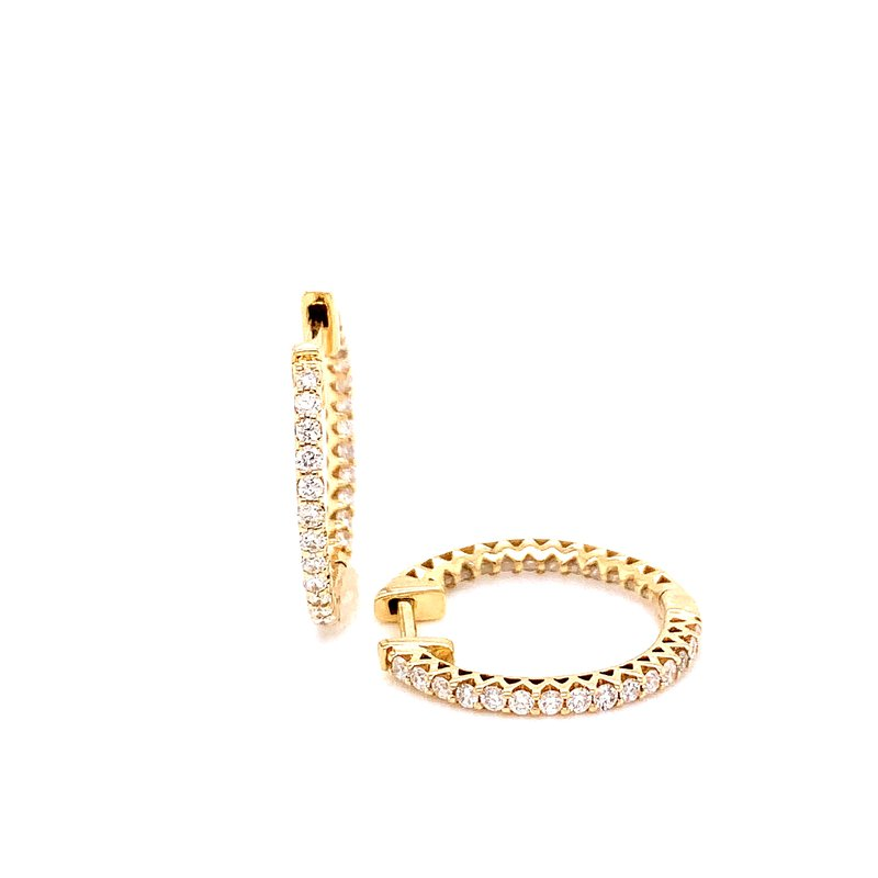 Corinth Collections  14 Karat Yellow Gold Inside Out Diamond Hoops