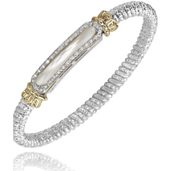 14 Karat Yellow Gold and Sterling Silver Mother of Pearl Diamond Bar Vahan Bracelet with Yellow Gold Beaded Accent