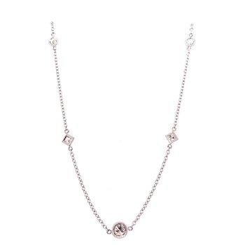 14 Karat White Gold Diamonds by the Yard Necklace with Alternating Geometric Diamonds