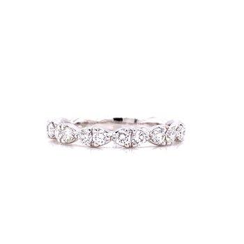 14 Karat White Gold Round Diamonds with Marquise Shape Halo Band