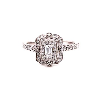 14 Karat White Gold Emerald Cut Center Stone with Double Diamond Halo with Scalloped Detailed Edges Engagement Ring