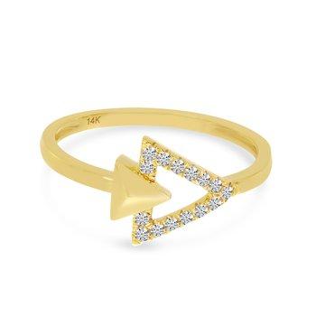 14 Karat Yellow Gold Double Diamond Triangle Fashion Ring