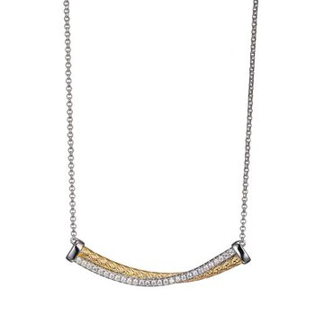 Sterling Silver and Gold Plated Intertwined Long Bar Necklace