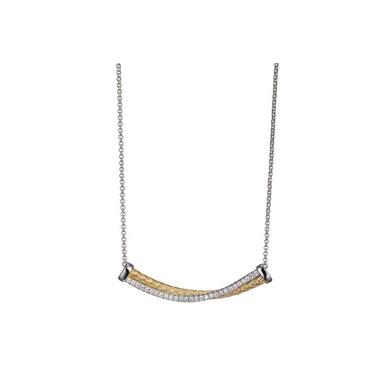 Corinth Collections  Sterling Silver and Gold Plated Intertwined Long Bar Necklace