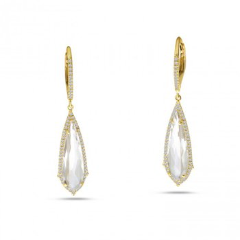 14 Karat Yellow Gold Tapered Elongated Clear Quartz and Diamond Dangle Earrings
