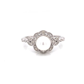 Sterling Silver Vintage Pearl and Diamond Ring