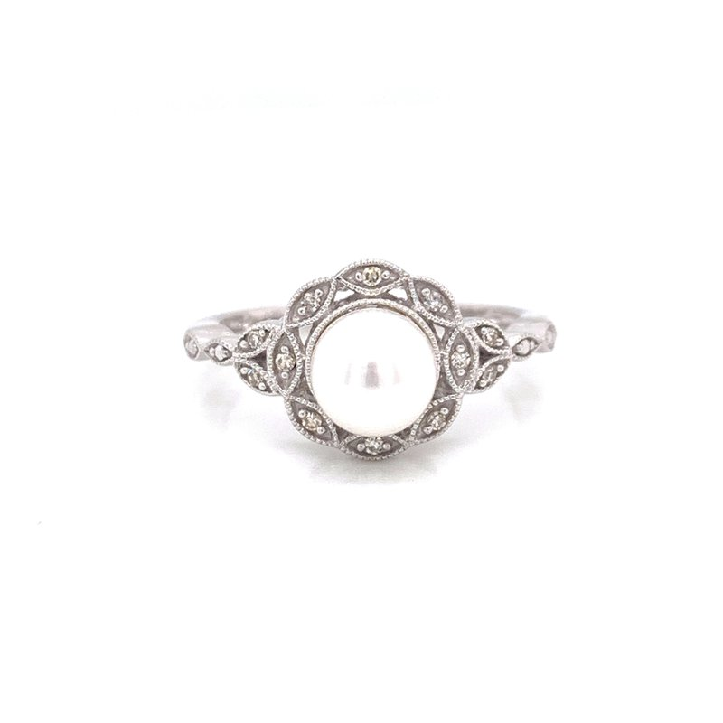 Corinth Collections  Sterling Silver Vintage Pearl and Diamond Ring