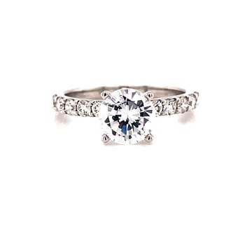 14 Karat White Gold 4- Prong Round Solitaire Engagement Ring