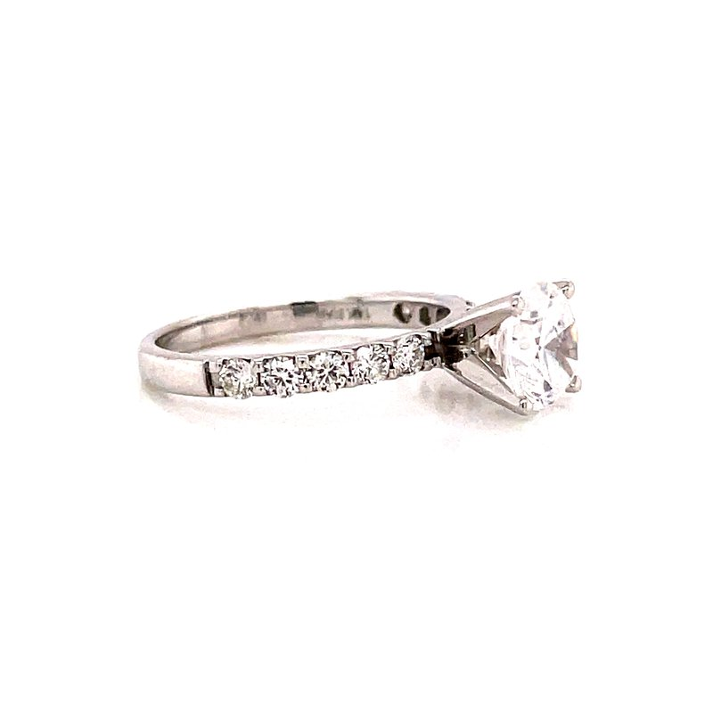 Corinth Collections  14 Karat White Gold 4- Prong Round Solitaire Engagement Ring