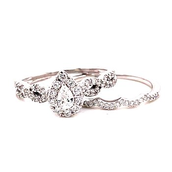 14 Karat White Gold Pear Cut Center with Diamond Halo and Infinity Diamond Shank Engagement Ring with Matching Diamond Band