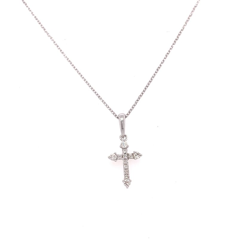 Corinth Collections  14K White Gold Petite Diamond Cross Necklace
