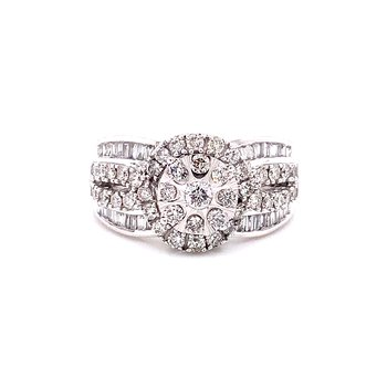 10 Karat White Gold Round and Baguette Engagement Ring with Triple Row Diamond Shank