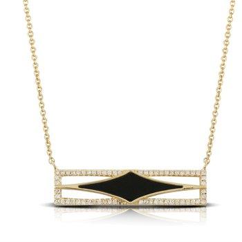 18 Karat Yellow Gold Black Onyx Bar with Diamond Accent
