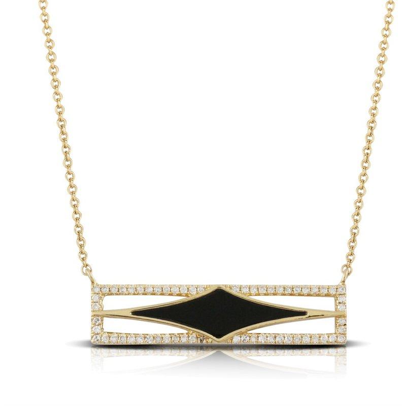 Corinth Collections  18 Karat Yellow Gold Black Onyx Bar with Diamond Accent