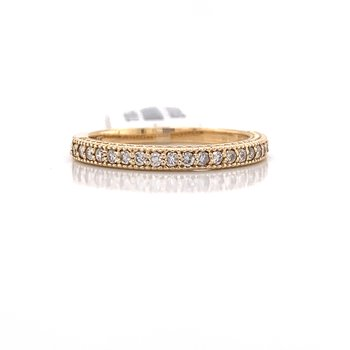 14K Yellow Gold Round Diamond Band with Migrain Details