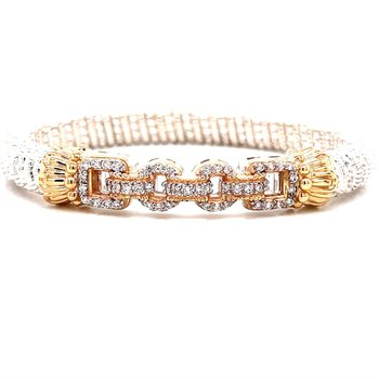 14 Karat Yellow Gold and Sterling Silver Alternating Oval and Round Link Vahan Diamond Bracelet