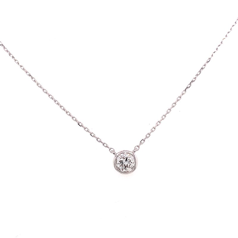 Corinth Collections  14 Karat White Gold Single Diamond Bezel Necklace