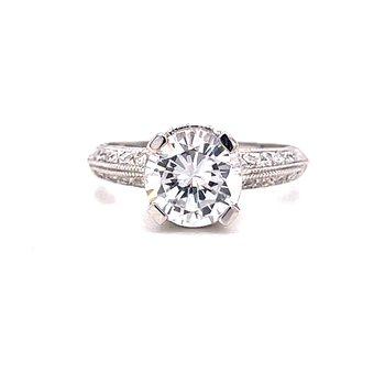 14 Karat White Gold Round Center Vintage Style Solitaire Engagement Ring with Milgrain and Filigree Detail