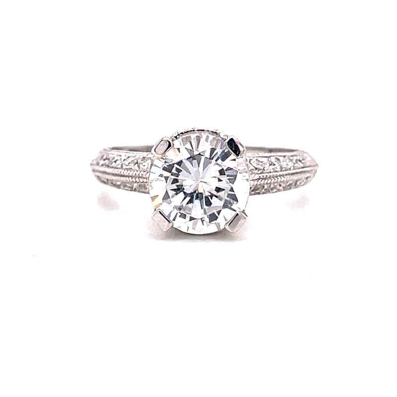 Corinth Collections  14 Karat White Gold Round Center Vintage Style Solitaire Engagement Ring with Milgrain and Filigree Detail