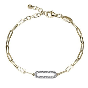 Sterling Silver and Gold Plated CZ Paper Clip Bracelet