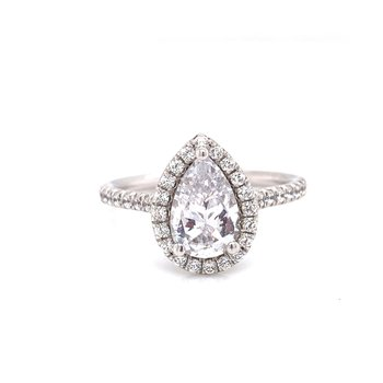 14K White Gold Pear center with Diamond Halo