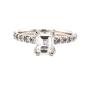 14 Karat White Gold Emerald Cut Diamond Solitaire Engagement Ring