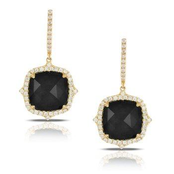 18 Karat Yellow Gold Cushion Cut Black Onyx Center Stone with Diamond Halo Dangle Earrings