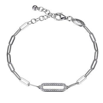 Sterling Silver Paper Clip Bracelet with CZ Link