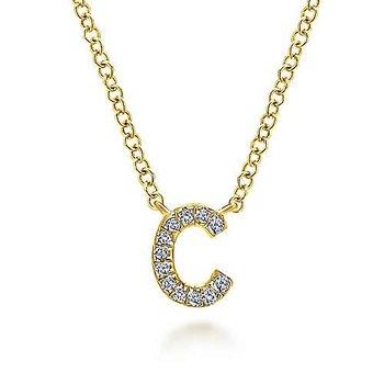 """14 Karat Yellow Gold Initial """"C"""" Diamond Necklace"""