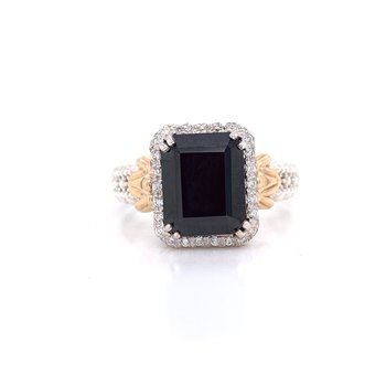 14 Karat Yellow Gold and Sterling Silver Black Onyx and Diamond Fashion Ring