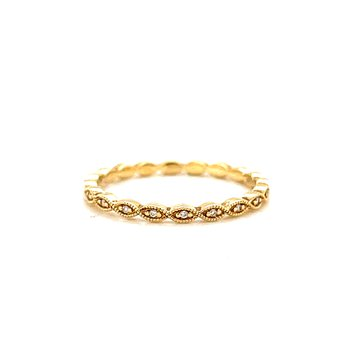 14 Karat Yellow Gold Alternating Round and Marquis Petite Diamond Band