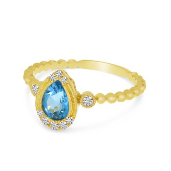 14 Karat Yellow Gold Pear Cut Blue Topaz Diamond Fashion Ring with Beaded Accent on Shank