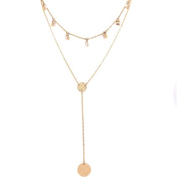 14K Yellow Gold 2 Strand Layered Necklace