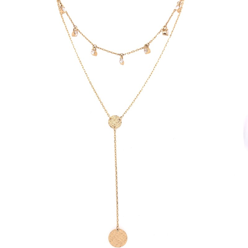 Corinth Collections  14K Yellow Gold 2 Strand Layered Necklace