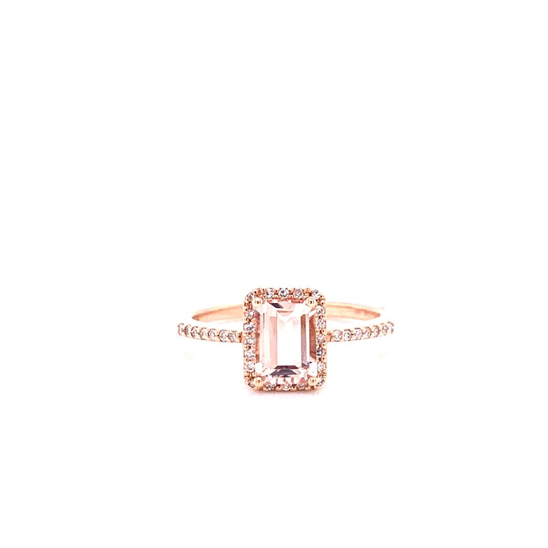 Corinth Collections  14K Rose Gold Morganite with Diamond Halo