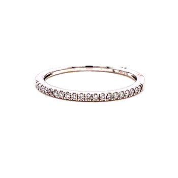 10 Karat White Gold Round Diamond Stacker Band