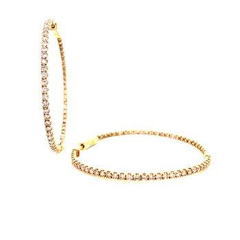 14 Karat Yellow Gold Inside Out 3.0 cttw Diamond Hoops