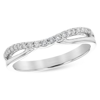 14 Karat White Gold Curved Polished and Diamond Stacker Band