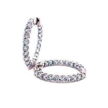 14 Karat White Gold Round Diamond Lab Grown Hoop 3.0 cttw Earrings