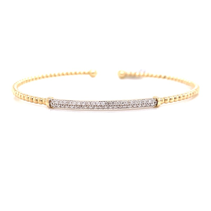 Corinth Collections  14K Yellow Gold Cuff with Diamond Bar