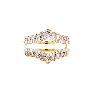 14 Karat Yellow and White Gold Double Diamond Row with Yellow Gold Beaded Accent Ring Guard