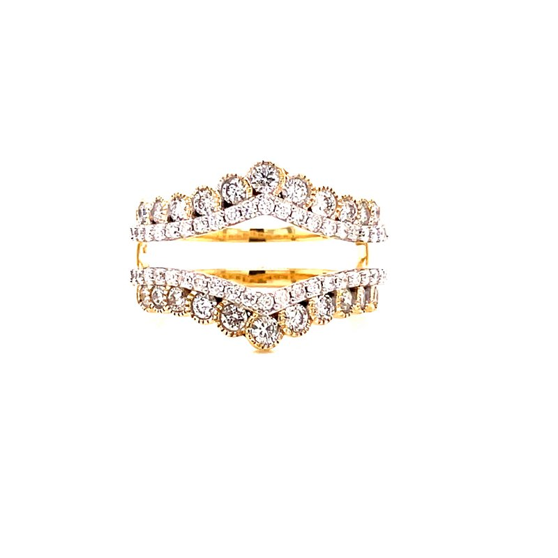 Corinth Collections  14 Karat Yellow and White Gold Double Diamond Row with Yellow Gold Beaded Accent Ring Guard