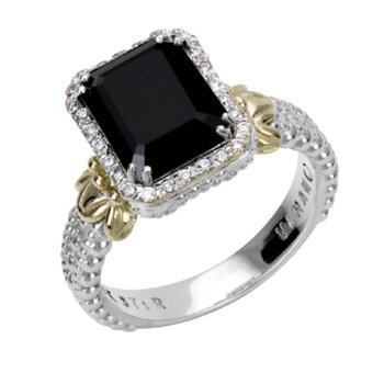 14 Karat Yellow Gold and Sterling Silver Octagon Black Onyx and Diamond Vahan Fashion Ring